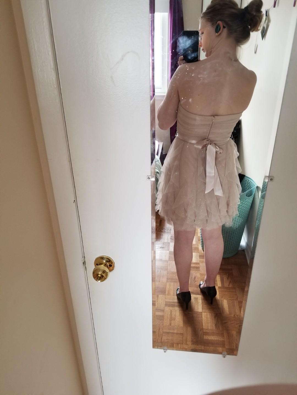 Le Château, size 7, short, strapless, sparkly, ruffle, chiffon, prom/grad dress