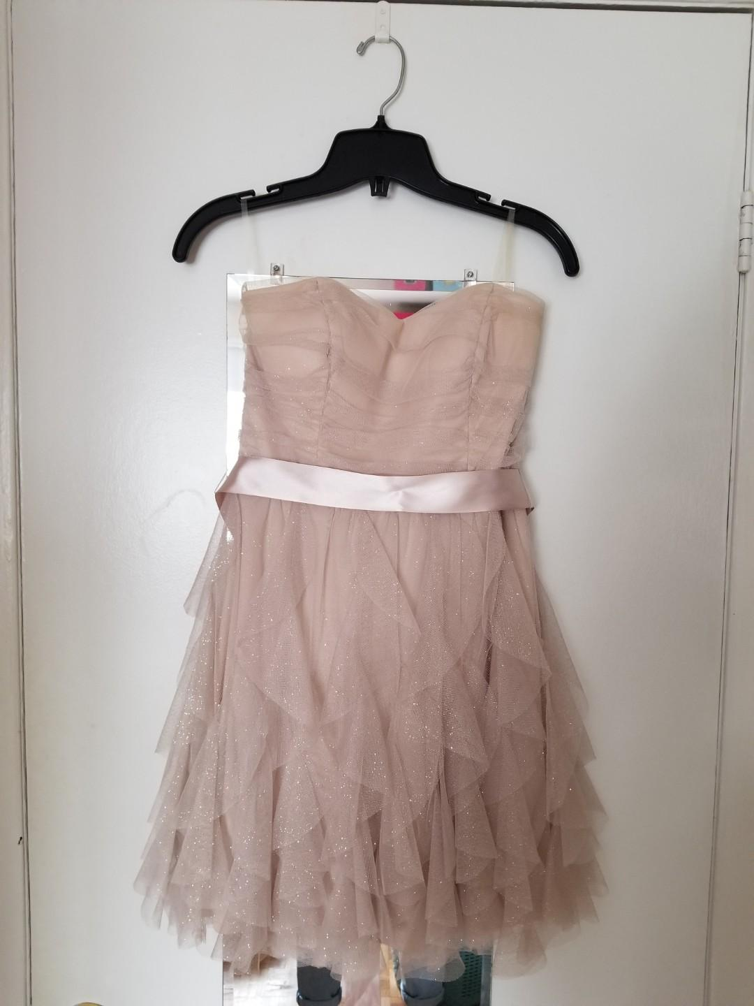 Le Château, size 7, short, strapless, sparkly, ruffle, chiffon, prom/grad dress