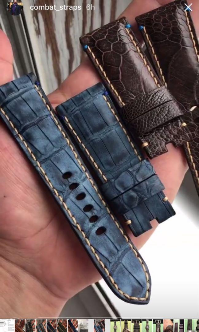 Like New bespoke handmade distressed denim blue genuine alligator skin leather strap for Panerai