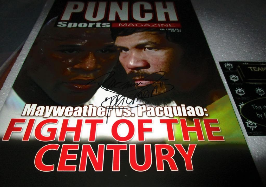 Manny Pacquiao Mayweather Fight of the Century Punch  Sports Magazine signed