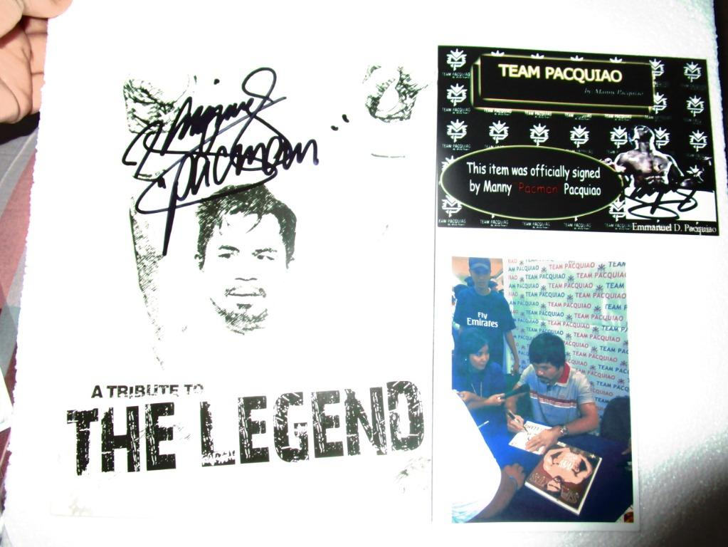 Manny Pacquiao THe Legend Book Hard to find authentic signature COA+Photo sigining