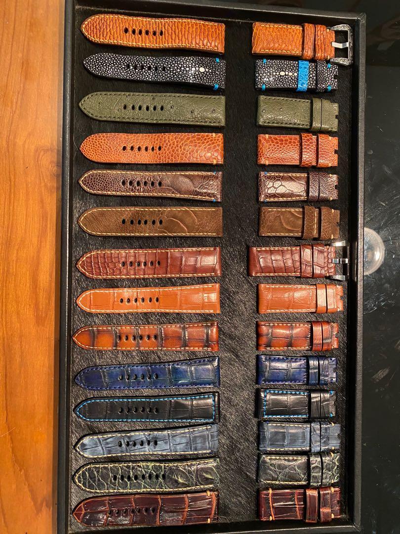 New bespoke handmade dark cognac / burgundy hornback genuine alligator  skin leather  strap for Panerai