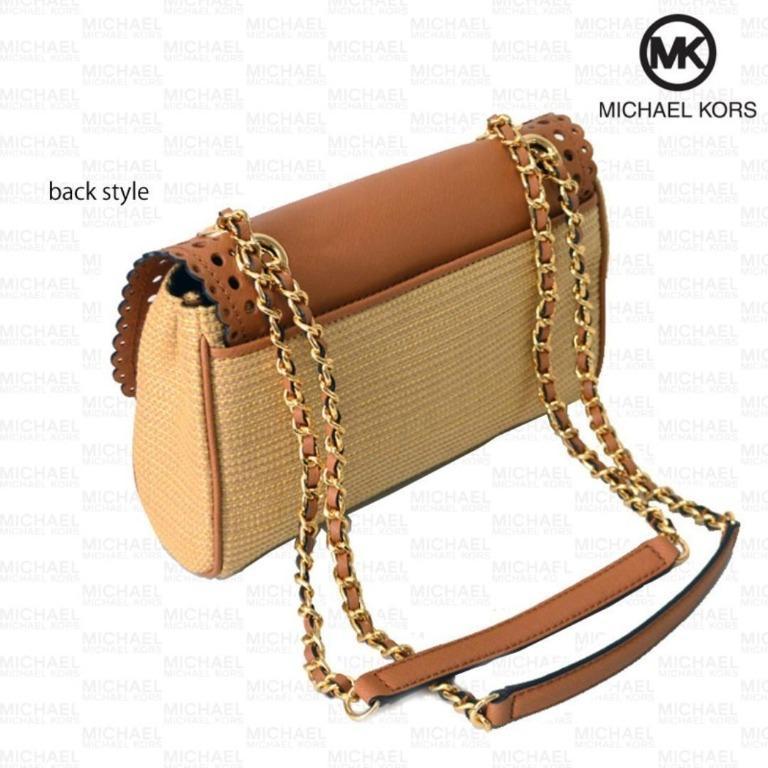 NEW Michael Kors MK Women's Violet Vivian Flap Shoulder Satchel Handbag Bag (Acorn Straw Brown)