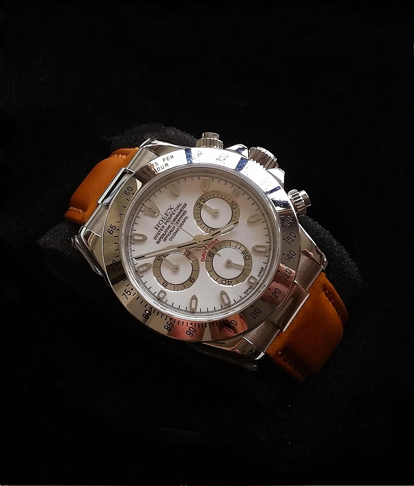 NEW TAN COLOUR CALF LEATHER STRAP WITH SS ENDLINK & CLASP FOR ROLEX DAYTONA (PRICE INCLUDES FITMENT)