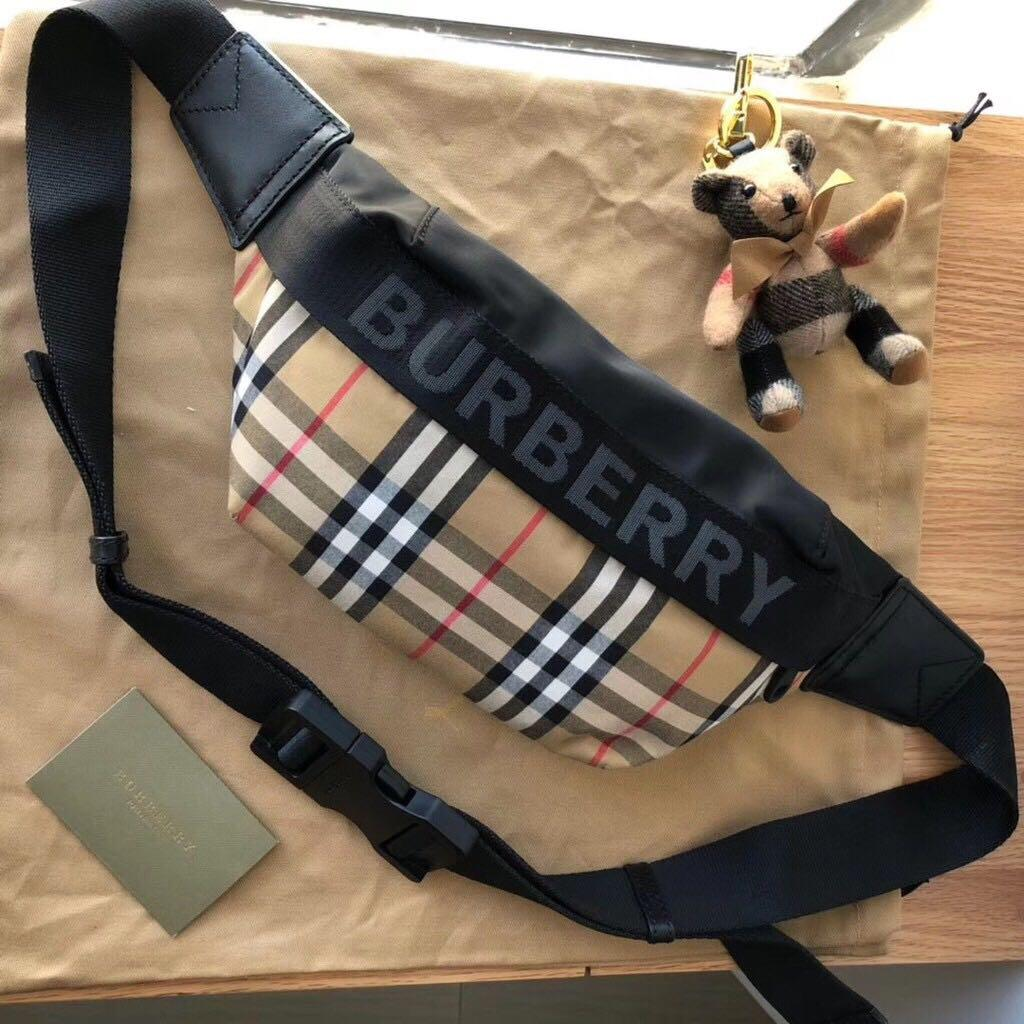 Orig-Material and Quality BBR2019SS Medium Vintage Check Fanny Bum Bag With Logo And Leather Trims