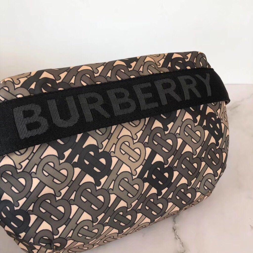Orig-quality and Material BBR2019SS Medium New 'TB' Logo Monogram Print Nylon Bum Bag Fanny Pack in Khaki Green