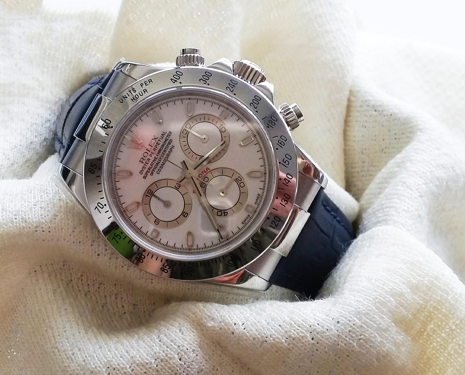 OXFORD BLUE LEATHER STRAP W STAINLESS STEEL ENDLINK & CLASP FOR ROLEX DAYTONA (PRICE INCLUDES FITMENT)