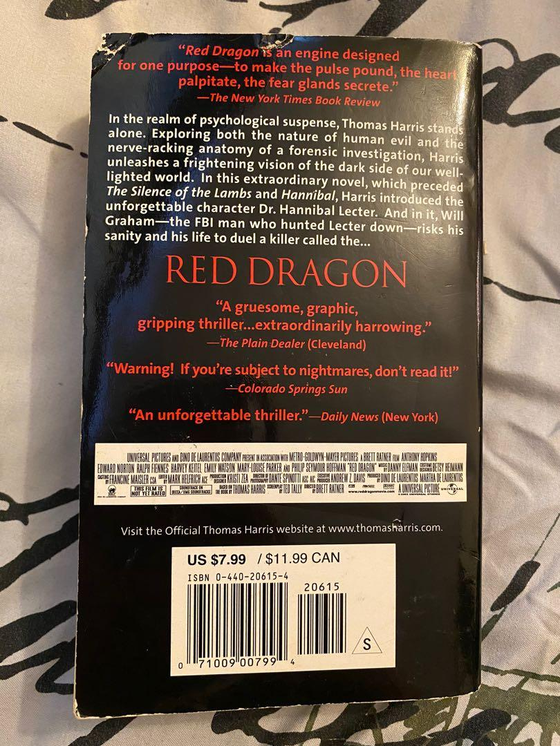 Red Dragon novel by Thomas Harris (silence of the lambs)