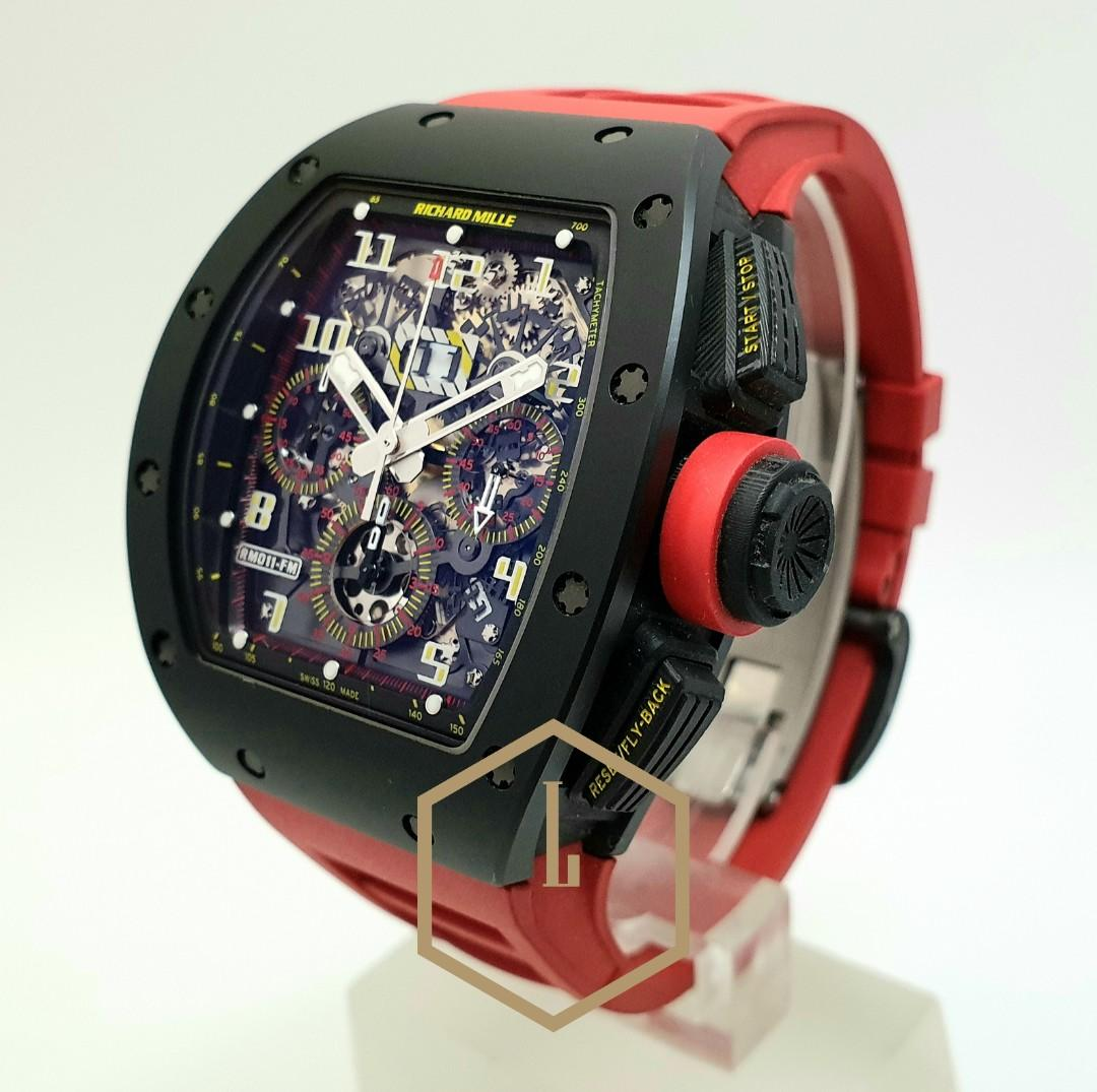 """Richard Mille RM011 Chronograph Rare Geneva Boutique Limited Edition of 15 Pcs in Black Ceramic Tzp & Tpt Carbon Complete """"Red"""""""