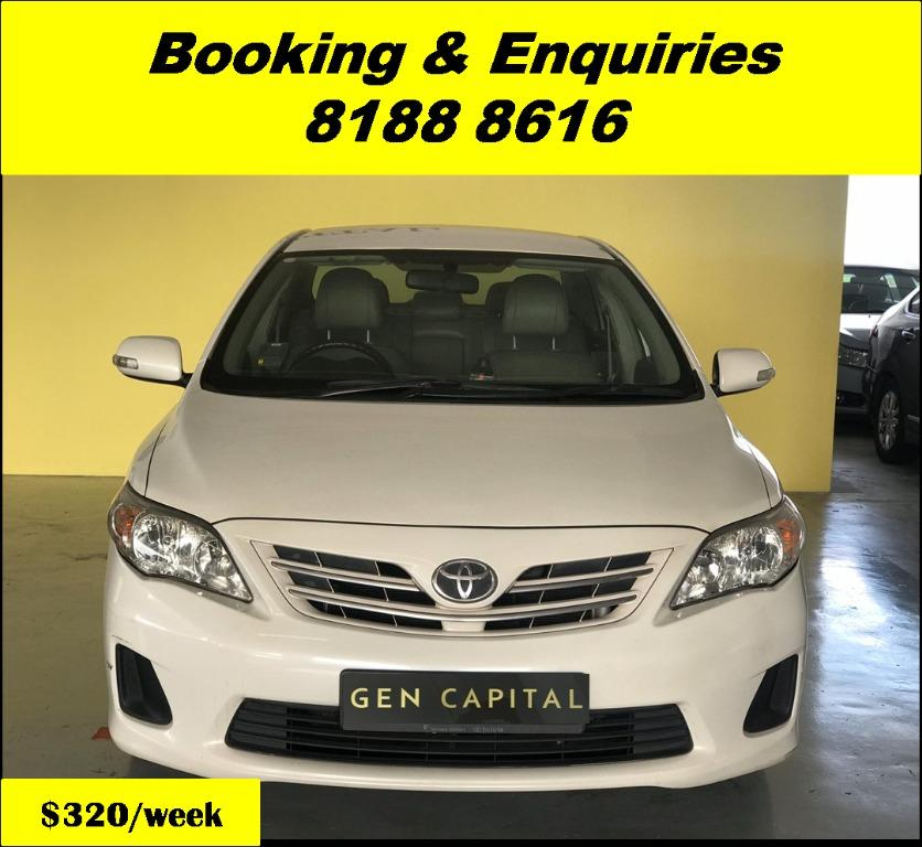 Toyota Altis HAPPY TUESDAY!! Best thing comes in pairs. Get your family, relative, friends to rent together to enjoy further discounts with 2 free days rental!! Superb Condition just $500 Deposit driveoff immediately. Whatsapp 8188 8616 now!