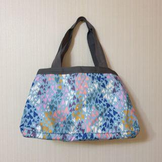 全新 lesportsac 藍色愛心 媽媽包 容量大 輕量 手提 肩背 旅行包
