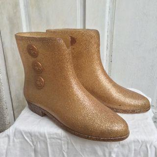 二手 Vivienne Westwood x melissa 金蔥尖頭香香膠短雨靴