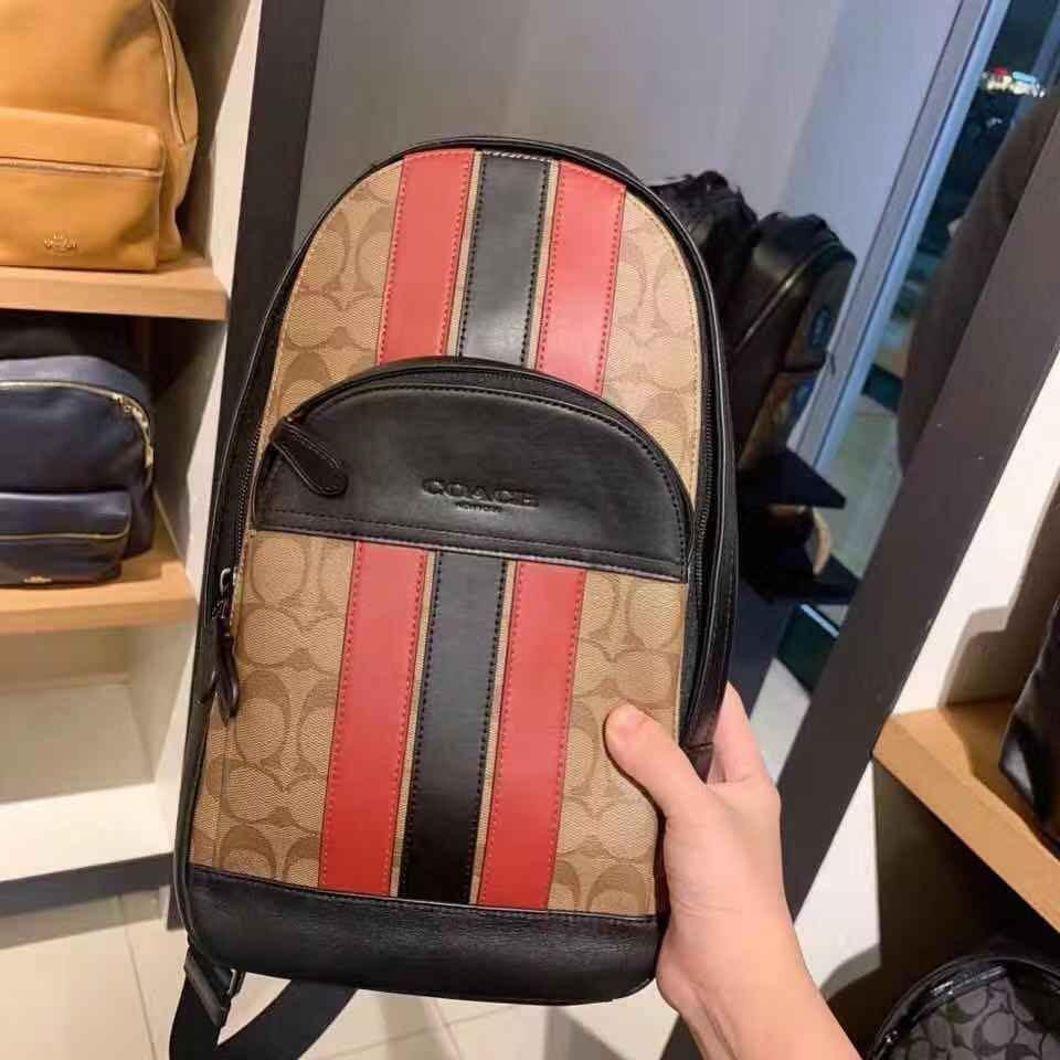 100% ORIGINAL READY STOCK HOUSTON PACK IN SIGNATURE CANVAS WITH VARSITY STRIPE (COACH F85035)