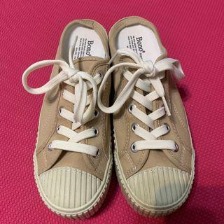 韓國製 正韓空運✈️ 餅乾帆布穆勒鞋 穆勒懶人鞋 奶茶色❤️