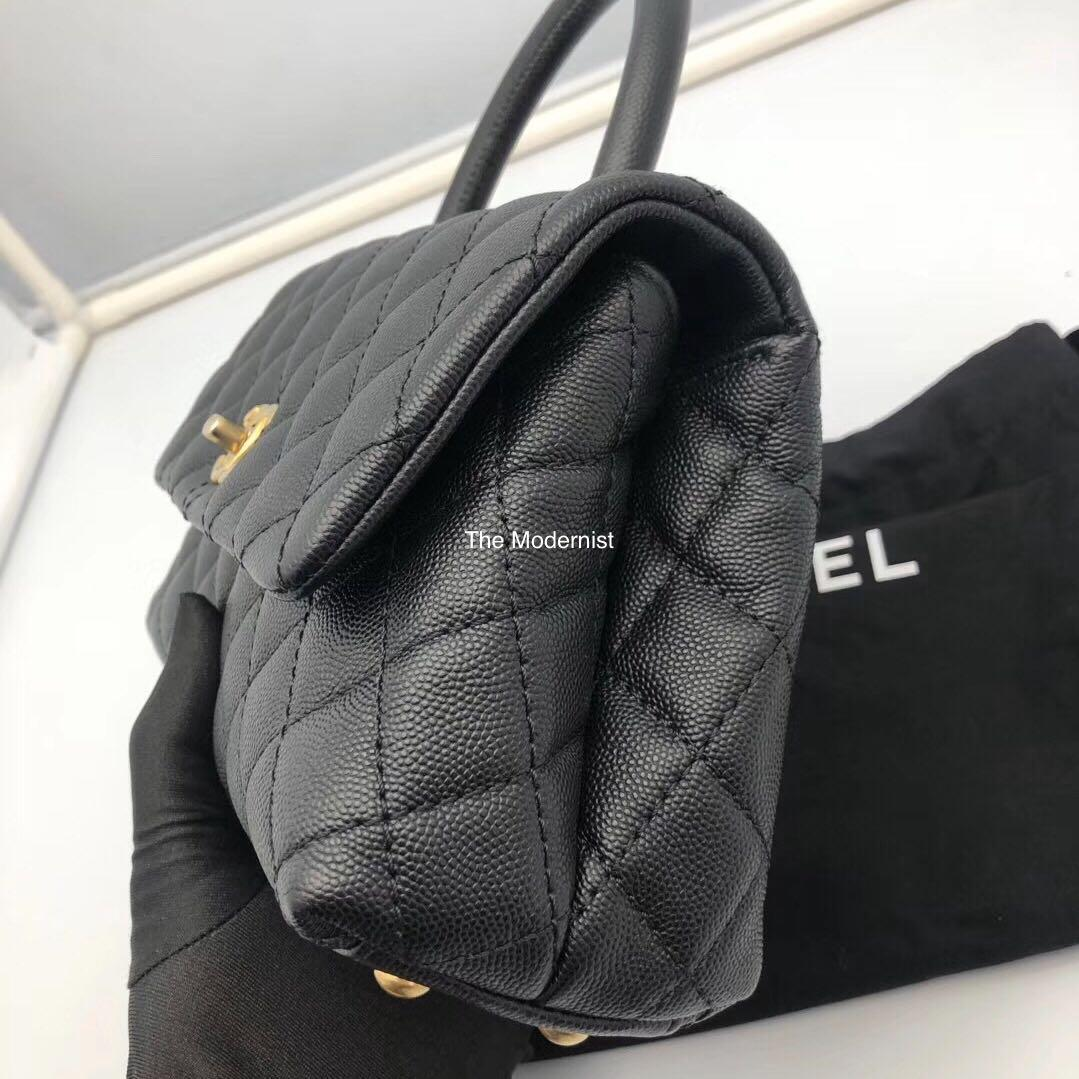 Authentic Chanel Coco Handle Black Caviar Leather in Gold Hardware Small
