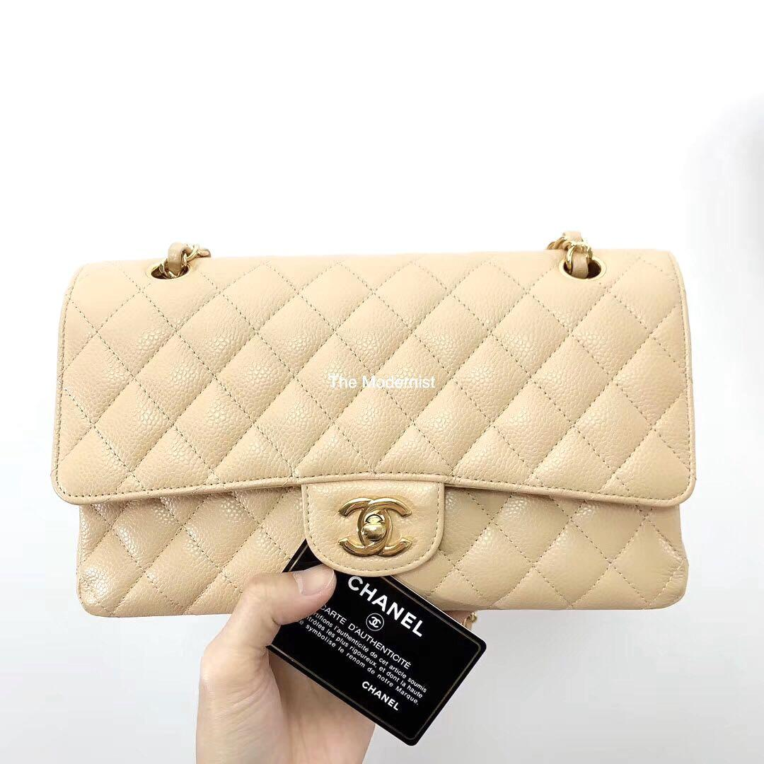 Authentic Chanel Medium Beige Caviar Leather Double Flap Gold Hardware