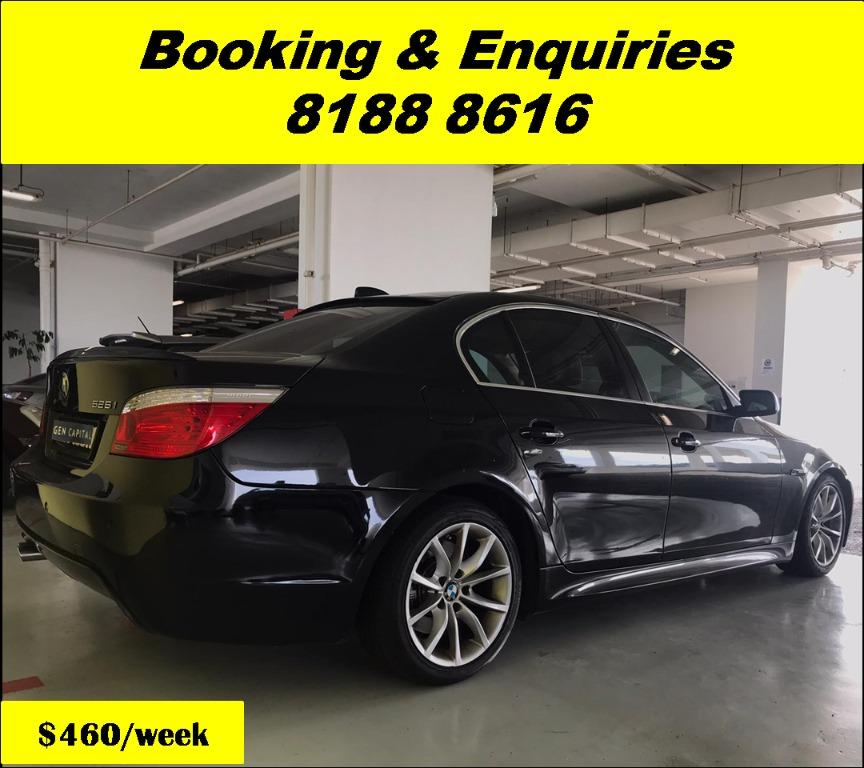 BMW 525i XL HAPPY WEDNESDAY! We have lowered our rental rates due to COVID19 to allow you to travel with a peace of mind. Just $500 Deposit driveoff immediately. Whatsapp 8188 8616 now for special rates!!