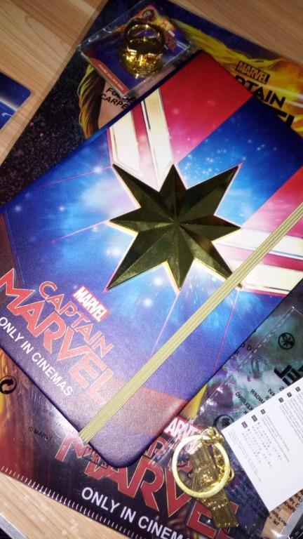 Captain Marvel Notebook with fabric stickers, keychain, phone ring holder, and CM folder
