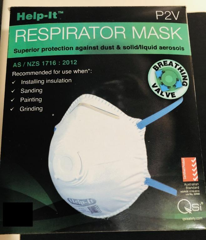 IMMEDIATE STOCK!! Help-It Respirator P2V N95 Moulded Mask With Valve Each