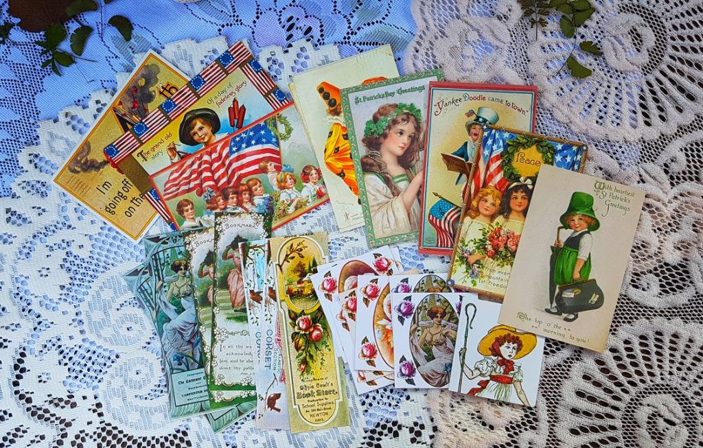 Junk Journal Pack, Pages, Papers, Ephemera, Postcards, Bookmarks, Greeting Cards