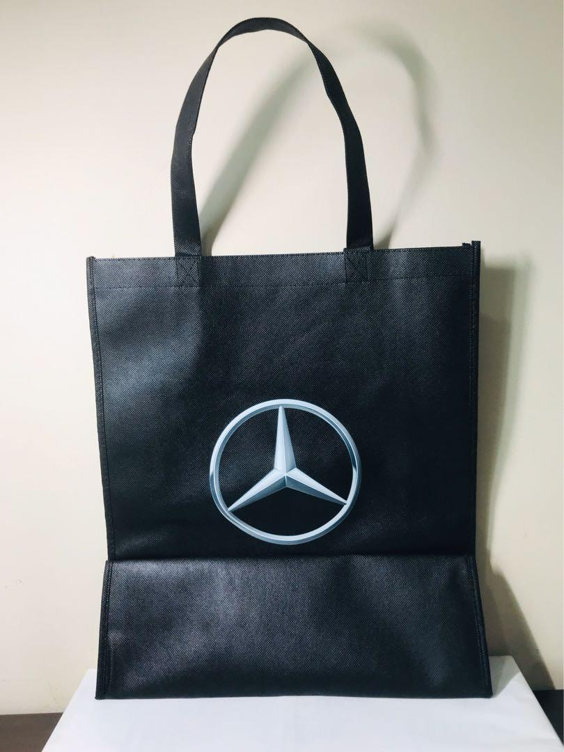 Mercedes. Shopper Tote. Tote Bag. Reusable Bag. Size LARGE. 16.6x14.2x4.9 inches. Silver Logo on front and back. AUTHENTIC