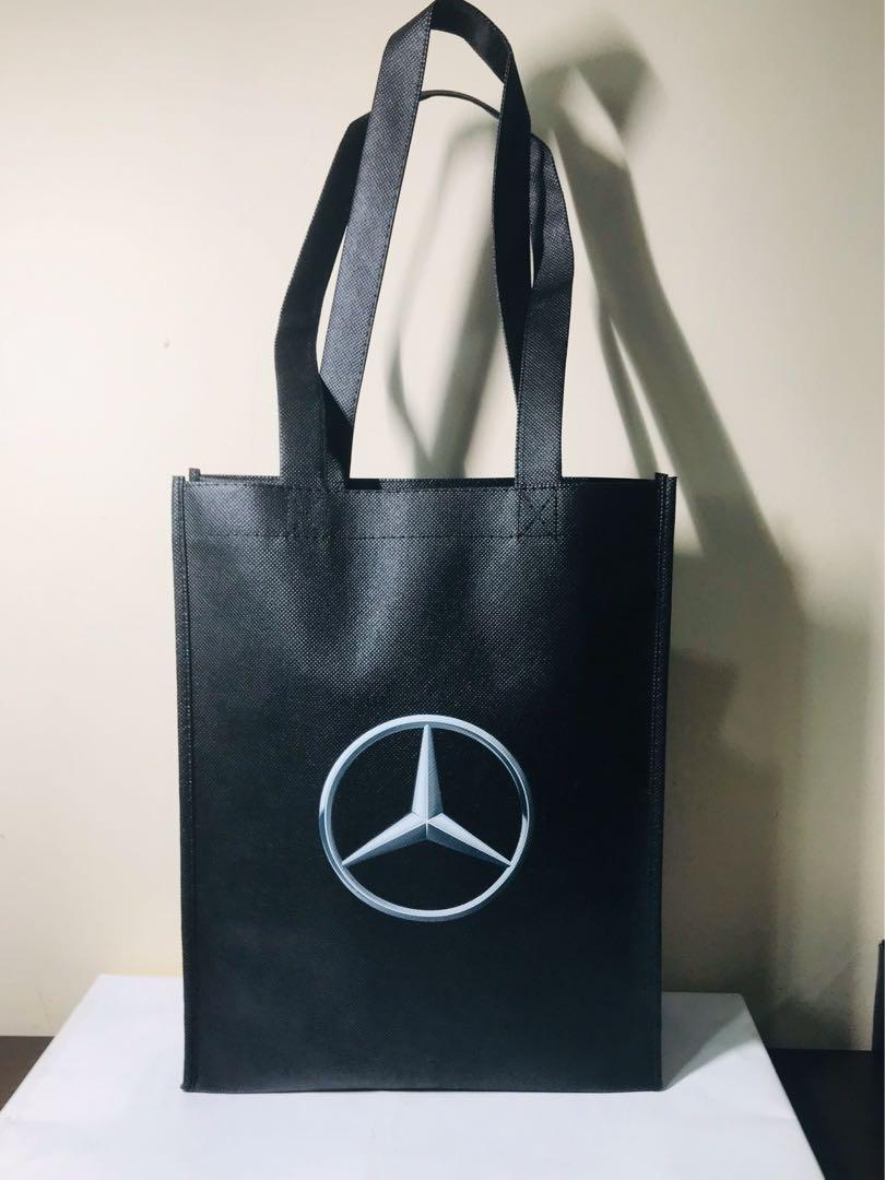 Mercedes. Shopper Bag. Tote Bag. Reusable Tote. Size Medium. 10.5x13x3.6 inches.  Silver Logo on front and back. AUTHENTIC