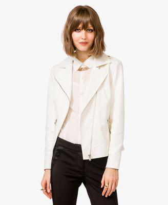 Perforated Leather Jacket White Size M - Forever 21