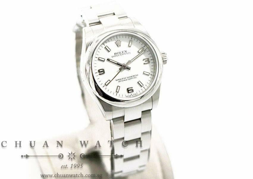 Pre-Owned Rolex Boys' Oyster Perpetual No-Date 31mm 177200 White Arabic 3.6.9 - Discontinued Dial