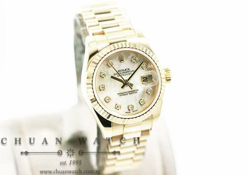 Pre-Owned Rolex Ladies' DateJust President Yellow Gold 26mm 179178 White MOP Diamonds - Discontinued