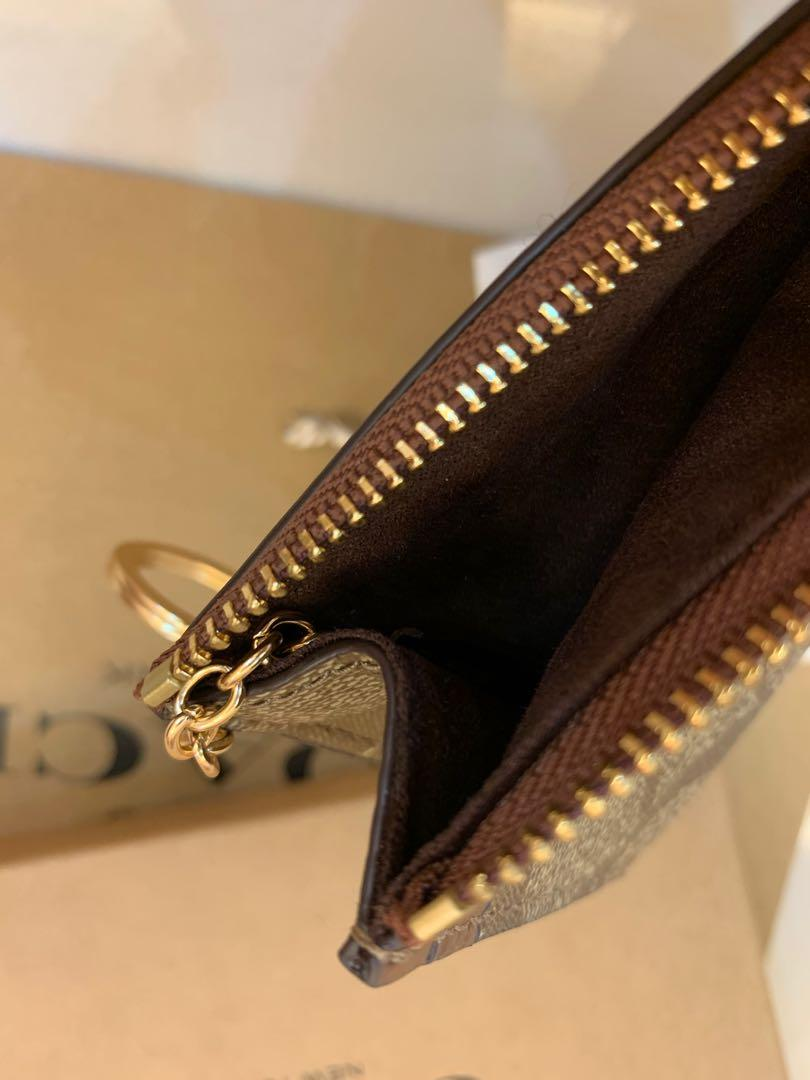 Ready Stock authentic coach key chain coin pouch card holder wallet khaki colour F88208