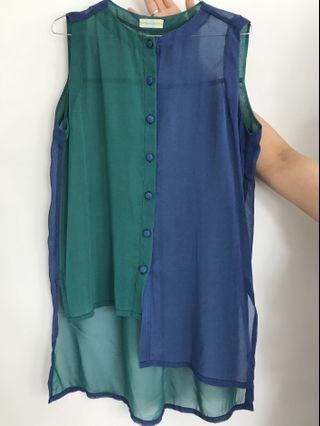 Blue green shirt