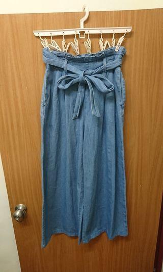 日本 GU 花苞褲頭鬆緊綁帶牛仔寬褲