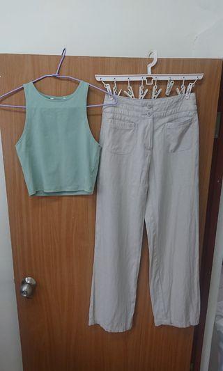 英國 M&S 穿起來很輕薄舒服的亞麻原色高腰寬版長褲 附贈顏色特別的果綠色短版上衣 兩件合售