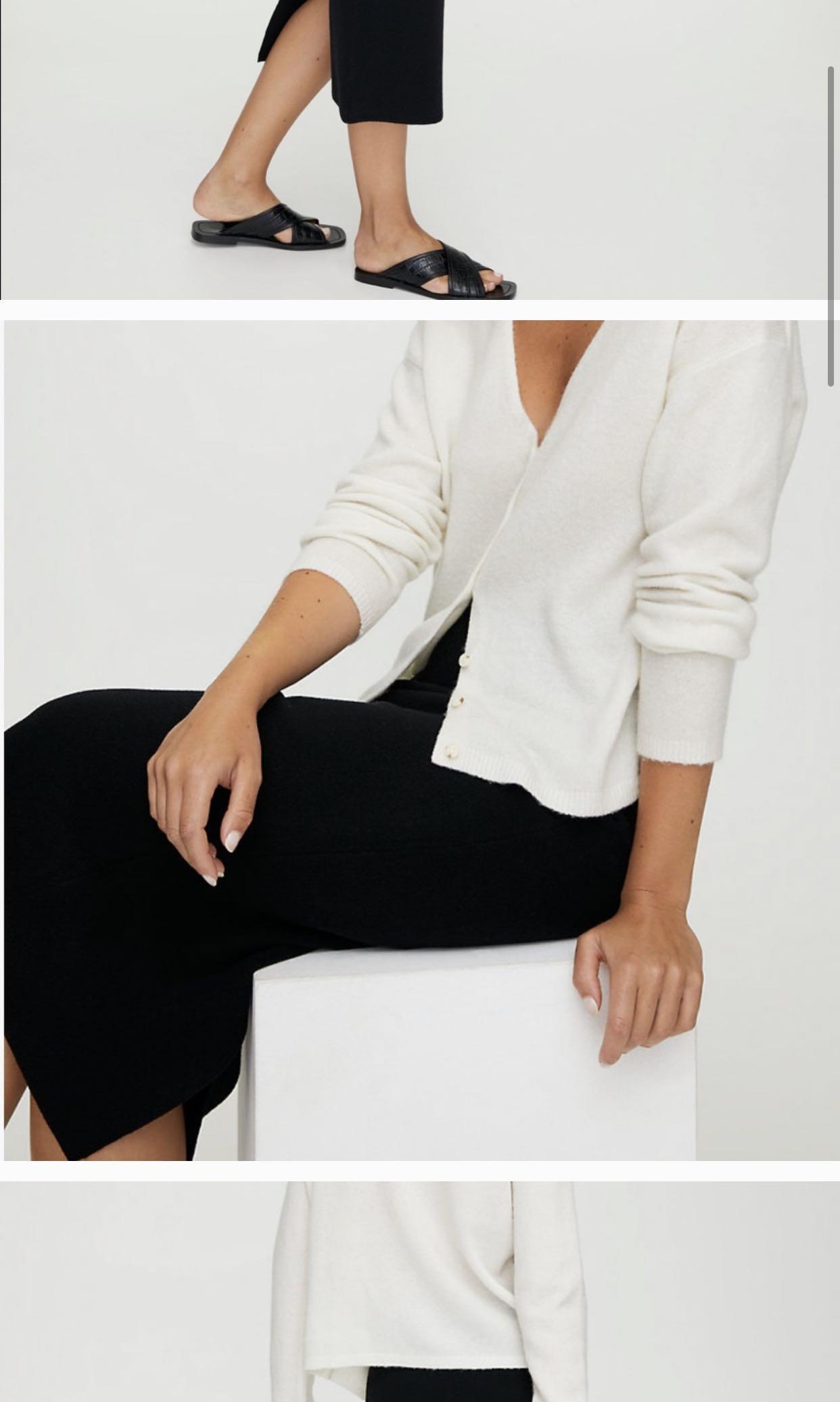 Aritzia Babaton JOHAN Midi Skirt Black Medium Wool Stretch