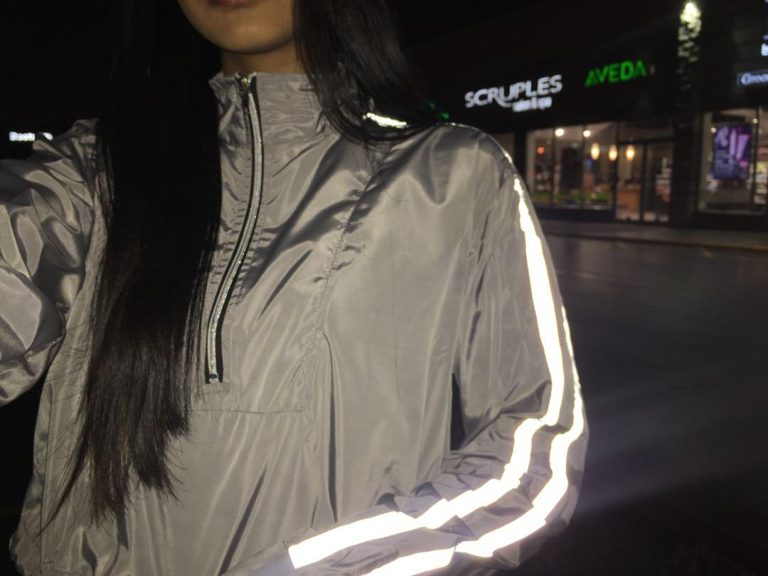 Boohoo cropped windbreaker with reflective stripes