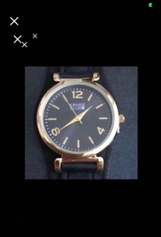 CLEARANCE SALES {Sports Gear - Quartz Watch} BN CRUISE CLUB Brand Ladies Black Quilted Strap Leather Wrist Quartz Watch