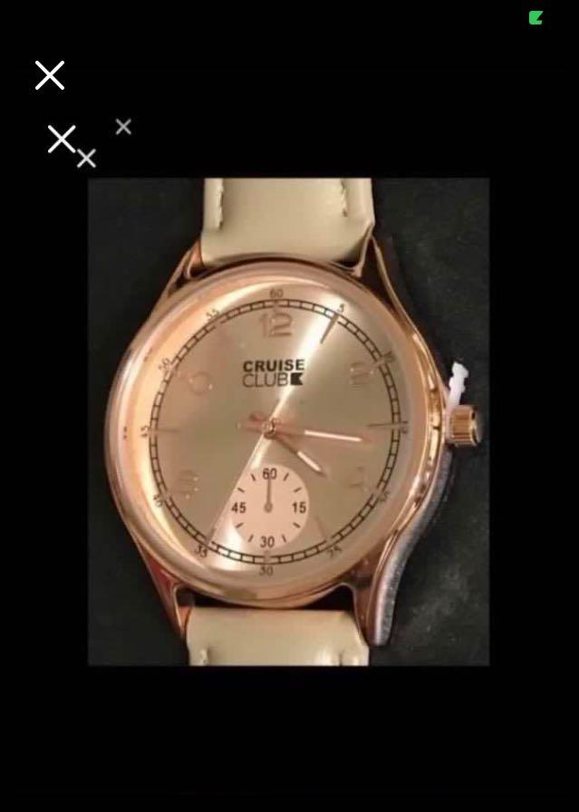 CLEARANCE SALES {Sports Gear - Quartz Watch} BN CRUISE CLUB Brand Ladies Fashion Classic Rose Gold Colour Dial Beige Leather Belt Stainless Steel CaseBack Wrist Quartz Watch