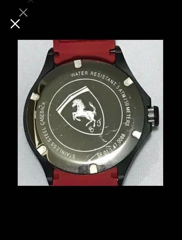 CLEARANCE SALES {Sports Gear - Sports Watches} Authentic Ferrari Brand Stainless Steel Case Unisex Sporty Quartz Watch Come With Original Classic Logo Ferrari Strap
