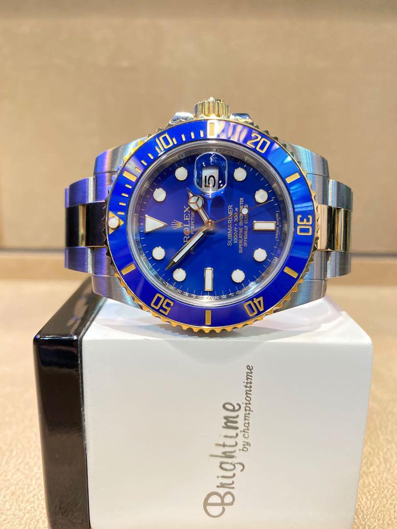 "Pre Owned Rolex Oyster Submariner 116613LB ""Smurf"" Blue Dial Automatic Steel Casing Bracelet"
