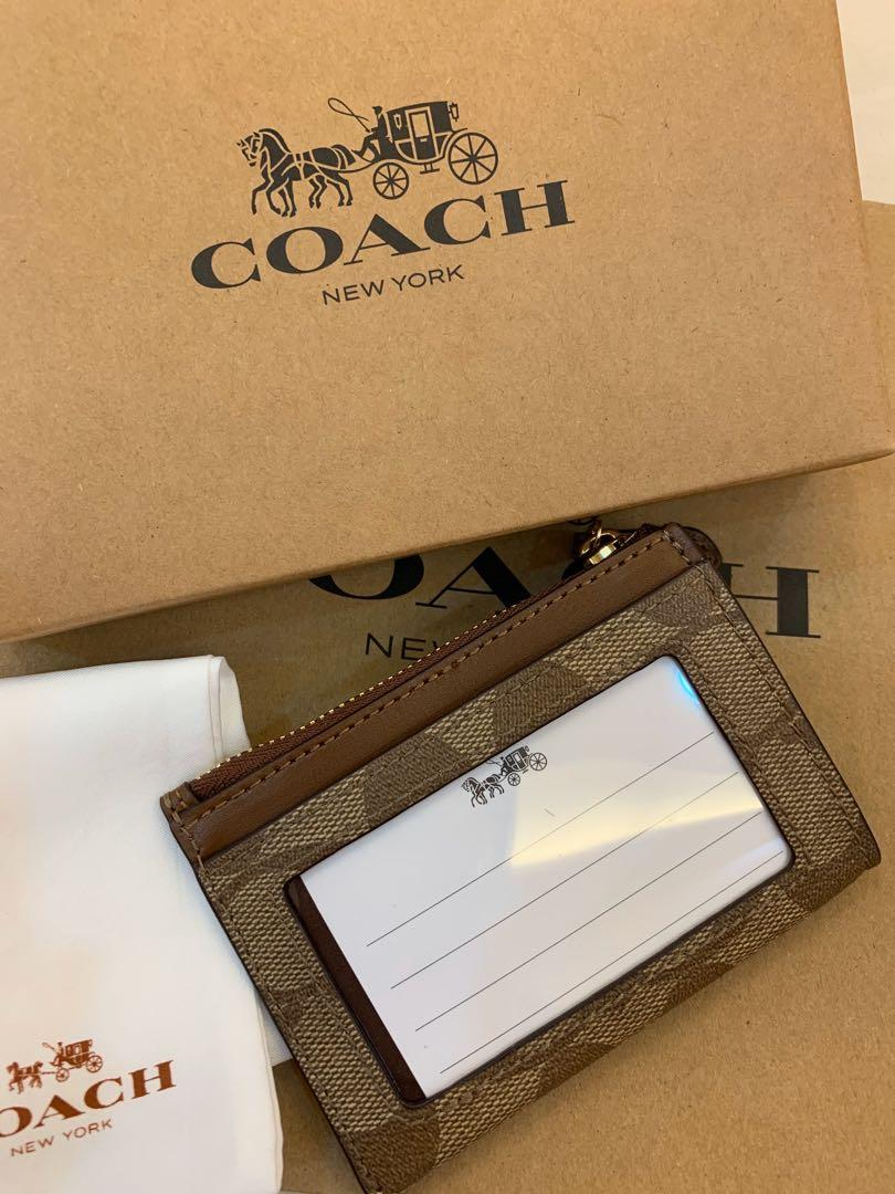 Ready Stock authentic coach women card holder lanyard coin bag wristlet wallet
