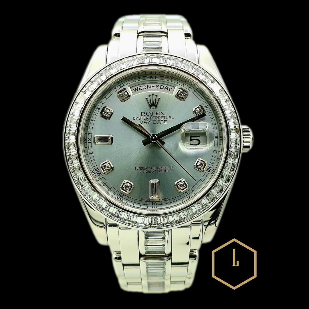 "Rolex Day-Date President Masterpiece 39mm ""Pearl Master"" PT950 Platinum M18956-74746 Ice Blue Full Baguette Diamonds"