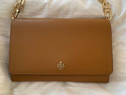 Tory Burch Robinson chain wallet brown