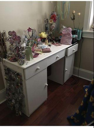 White table in good condition with mirror (don't show in picture )