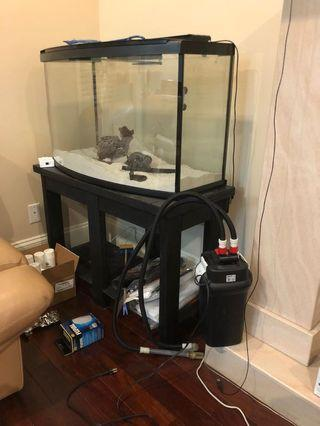 (WHOLE SET) Fish tank with Stand and Filter pump