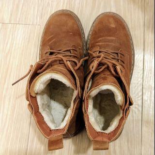 麂皮絨毛保暖中筒靴24號