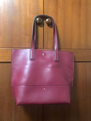 酒紅色 托特包 側背包