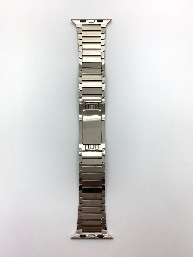 42mm Silver Stainless Steel Push Button Butterfly Clasp Watch Bracelet Watchband for Apple Watch Series 1 2 3 4