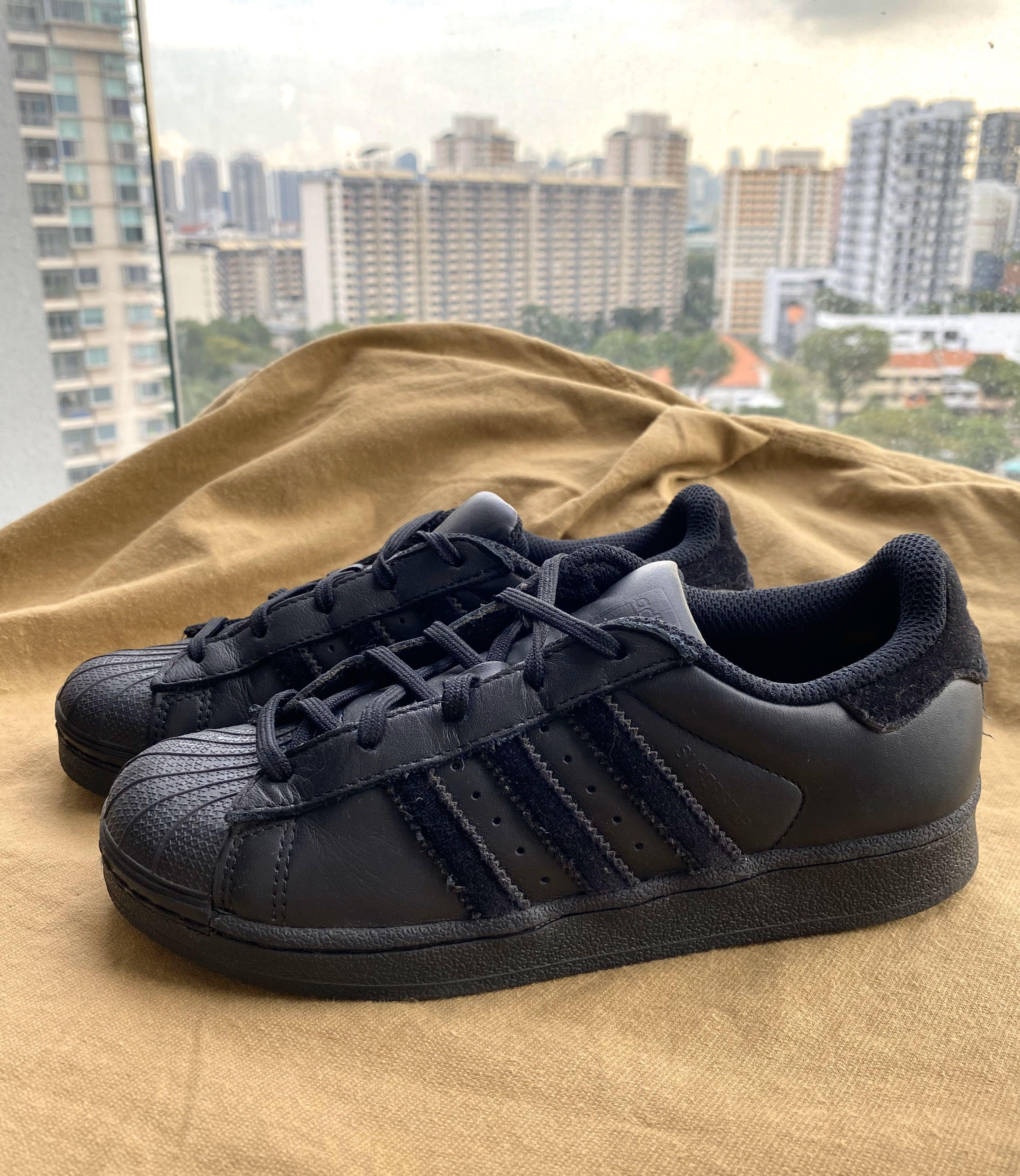 Adidas Superstar Full Black Kids Shoes
