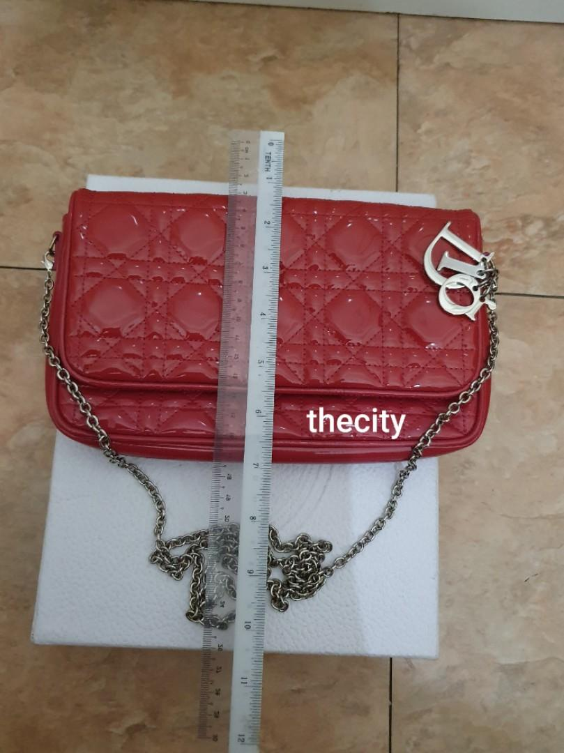 AUTHENTIC DIOR SHINY PATENT LEATHER , LADY DIOR QUILTED SLING MESSENGER BAG - VERY CLEAN INTERIOR - SILVER  HARDWARE - DIOR CHARMS INTACT, COMES WITH ORIGINAL LONG STRAP FOR CROSSBODY SLING