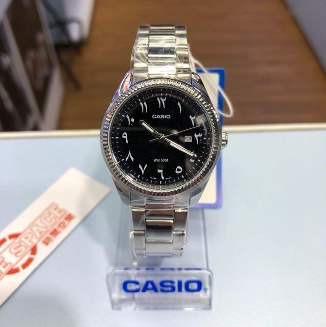Casio MTP-1302D-1B3V & LTP-1302D-1B3V Couple Analog Date Functioning Arab Number Black Dial Stainless Steel Strap Original Casual Watch